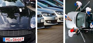 Dienstleistungen wie Kennzeichen, Fuhrparkservice oder Leasingrückläufer